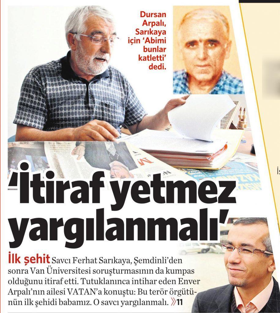 4 Ağustos 2016 Vatan Gazetesi 11. sayfa