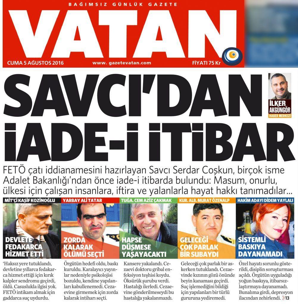 5 Ağustos 2016 Vatan Gazetesi 1. sayfa