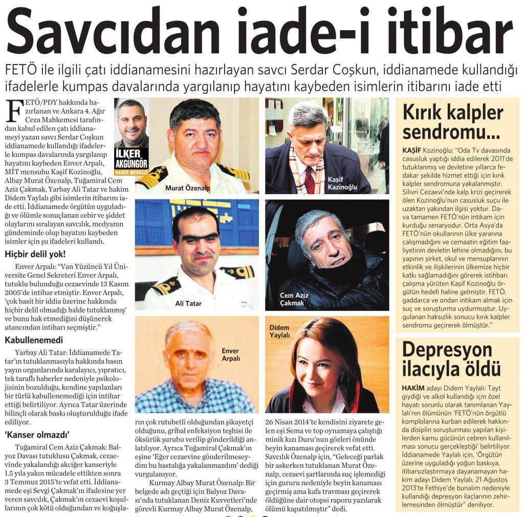 5 Ağustos 2016 Vatan Gazetesi 13. sayfa