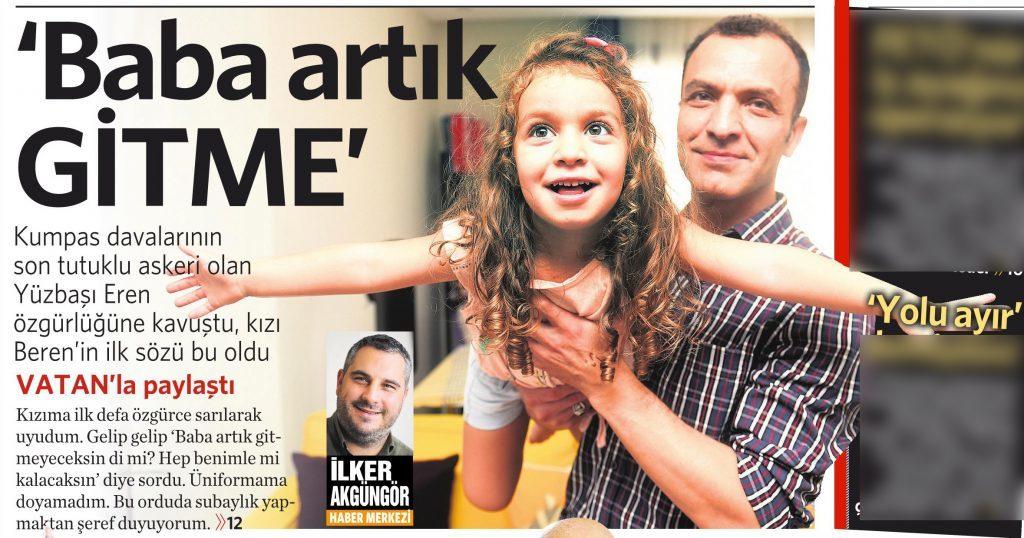 19 Ağustos 2016 Vatan Gazetesi 1. sayfa