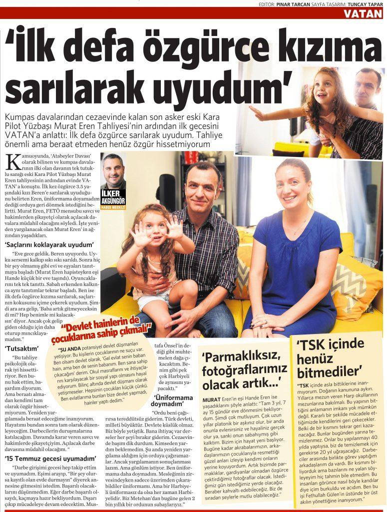 19 Ağustos 2016 Vatan Gazetesi 14. sayfa