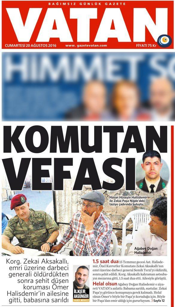 20 Ağustos 2016 Vatan Gazetesi 1. sayfa