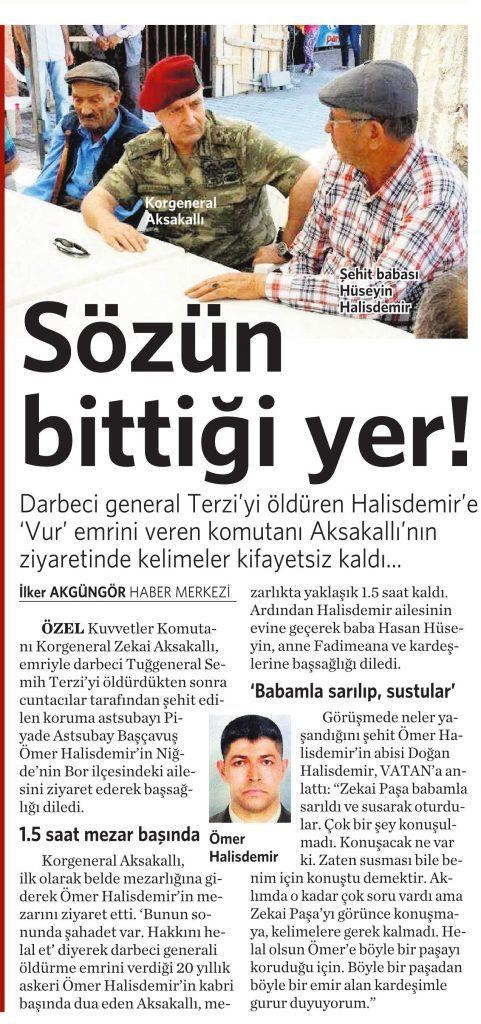 20 Ağustos 2016 Vatan Gazetesi 12. sayfa