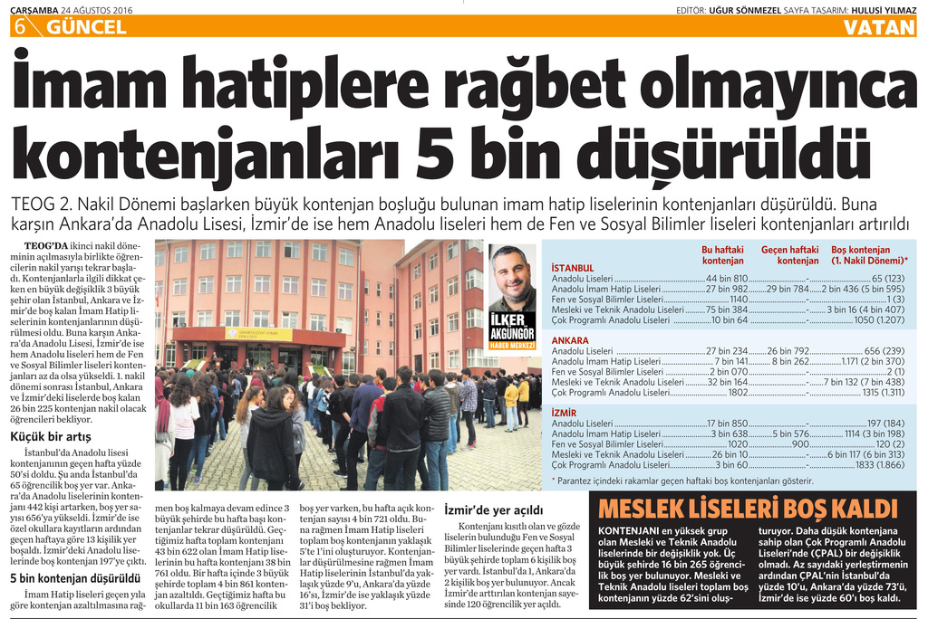 24 Ağustos 2016 Vatan Gazetesi 6. sayfa
