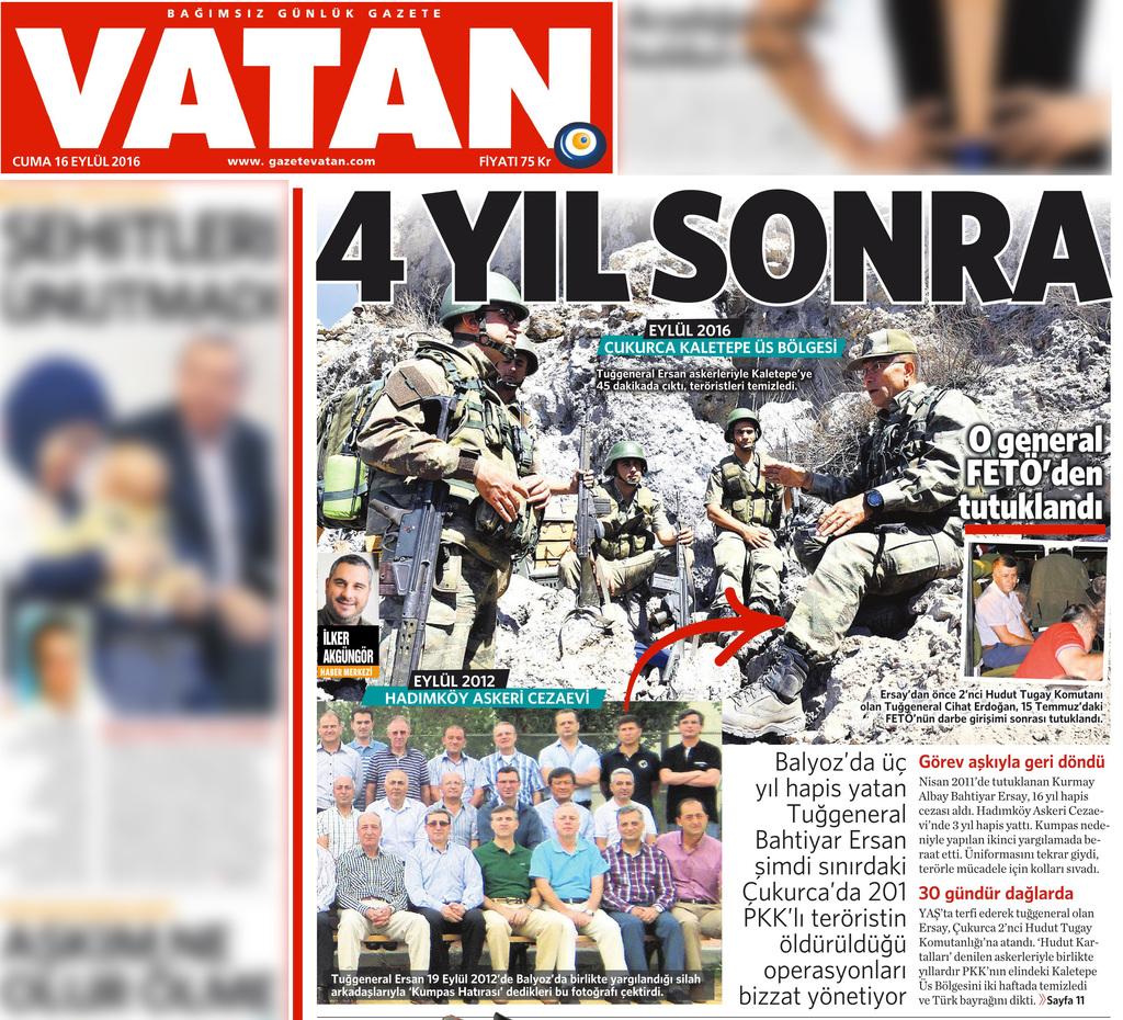 16 Eylül 2016 Vatan Gazetesi 1. sayfa
