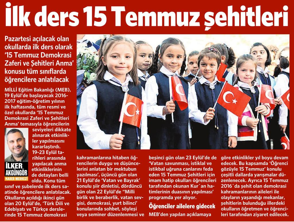 17 Eylül 2016 Vatan Gazetesi 15. sayfa