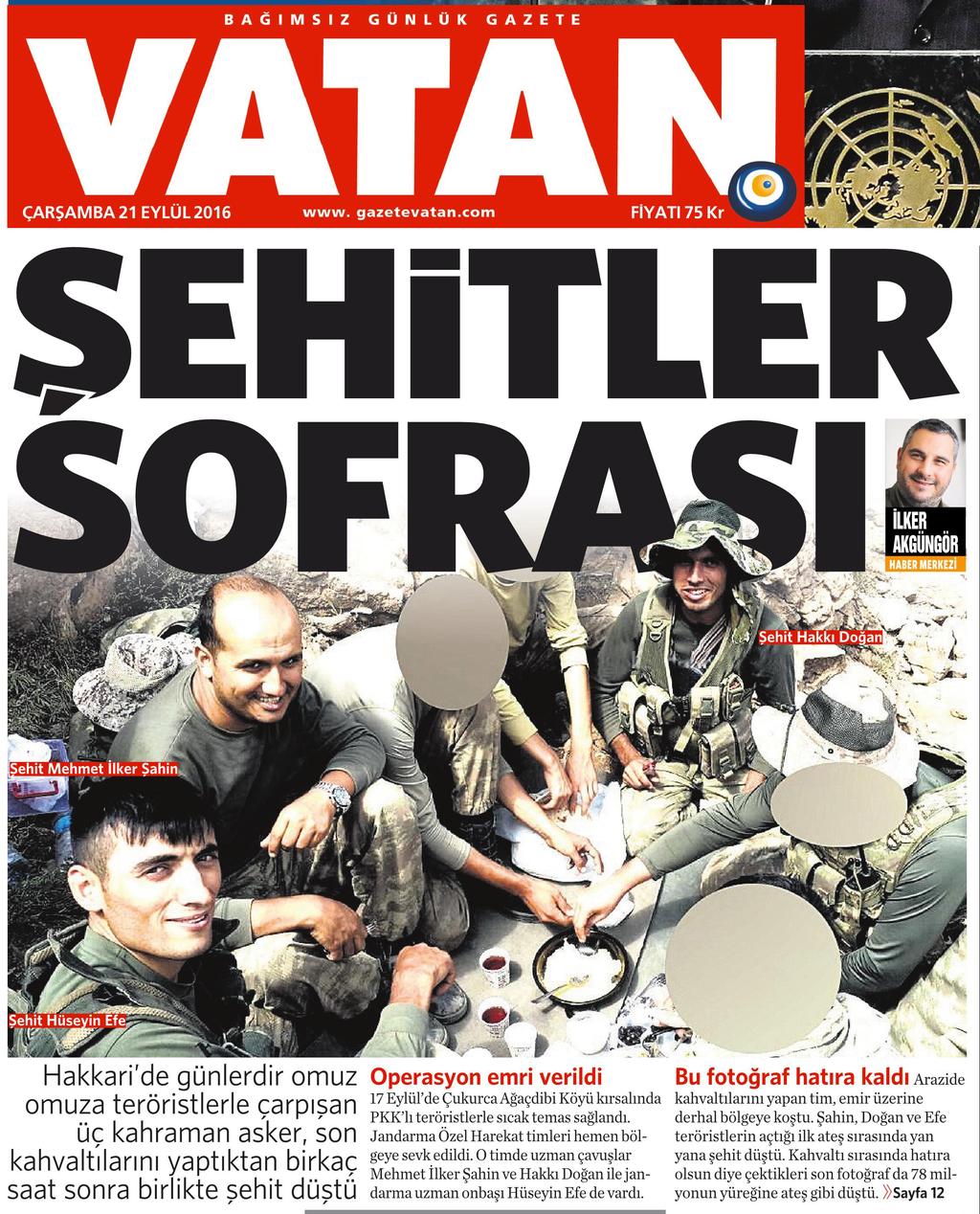 21 Eylül 2016 Vatan Gazetesi 1. sayfa