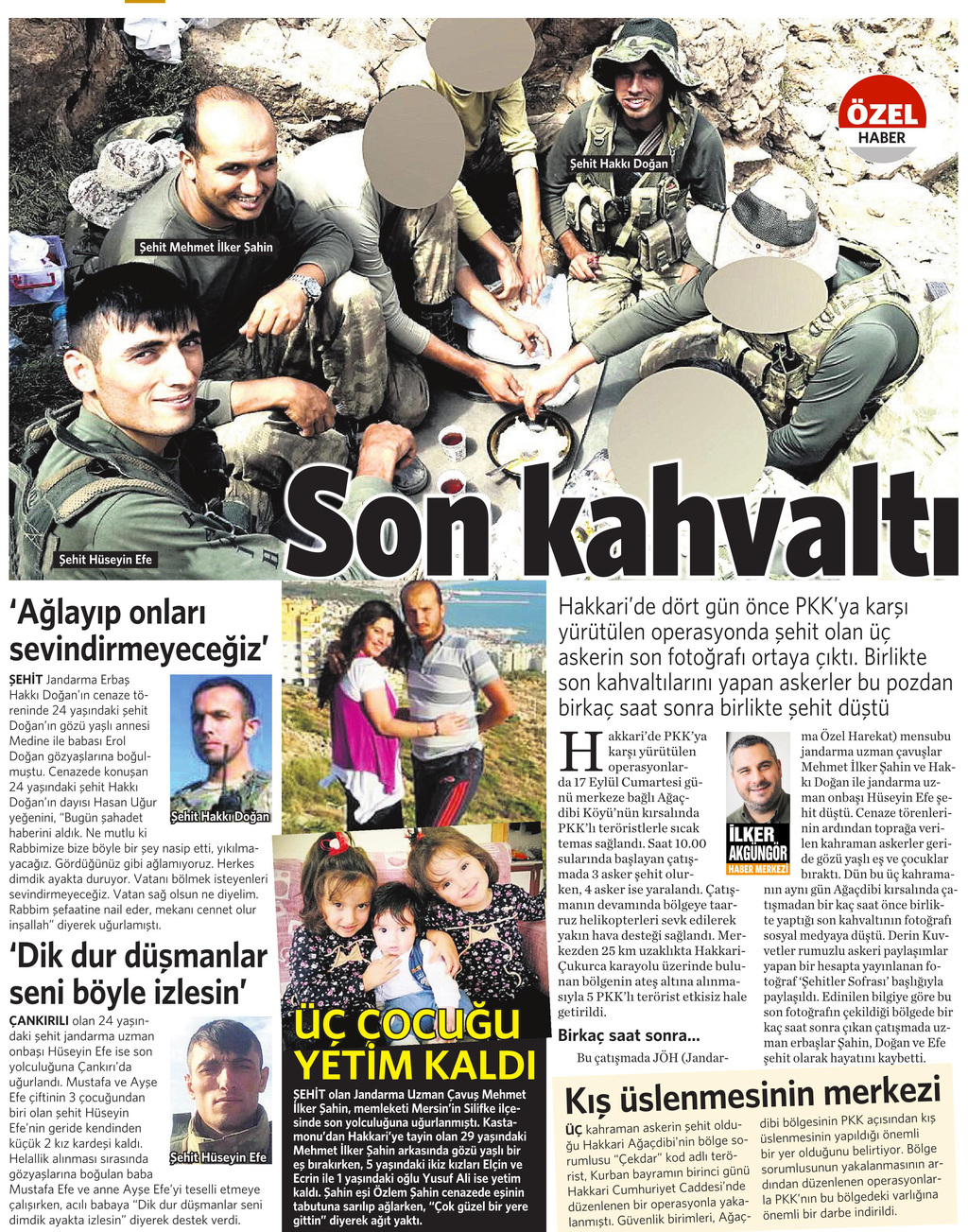 21 Eylül 2016 Vatan Gazetesi 12. sayfa