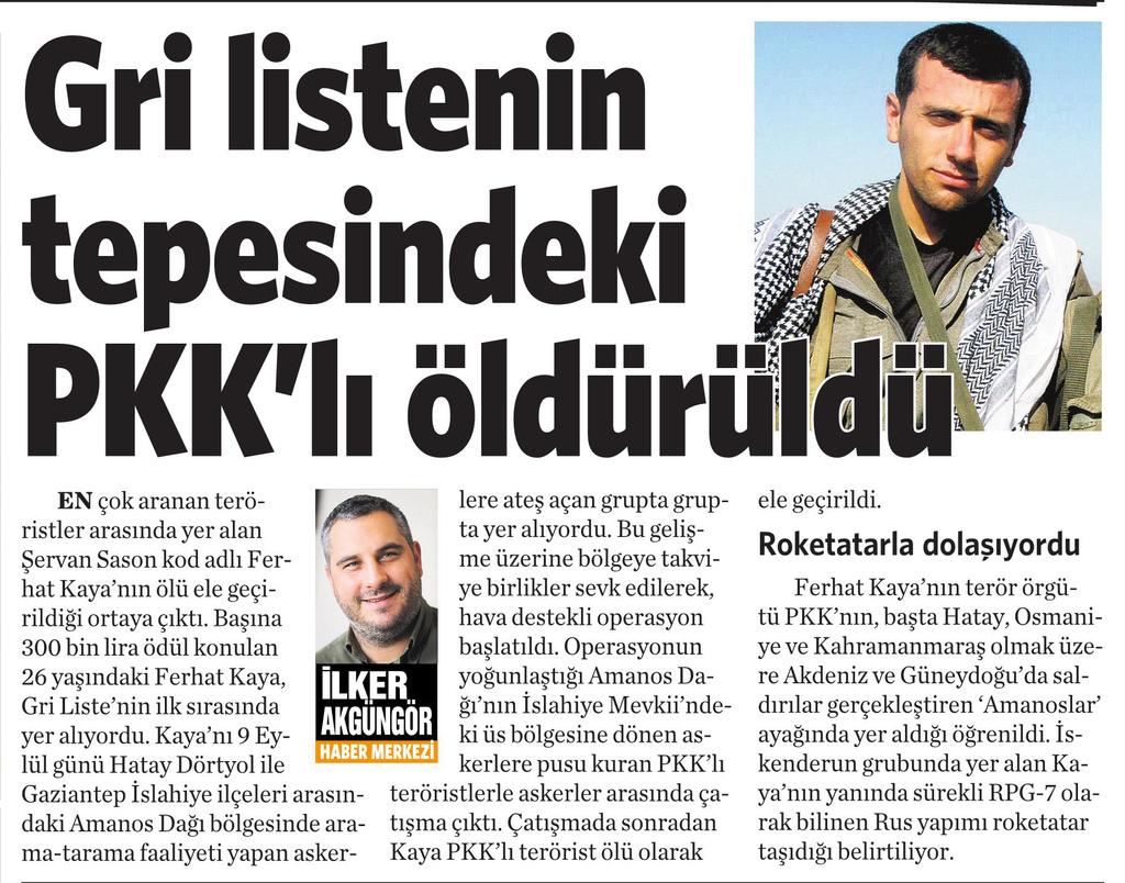 22 Eylül 2016 Vatan Gazetesi 11. sayfa