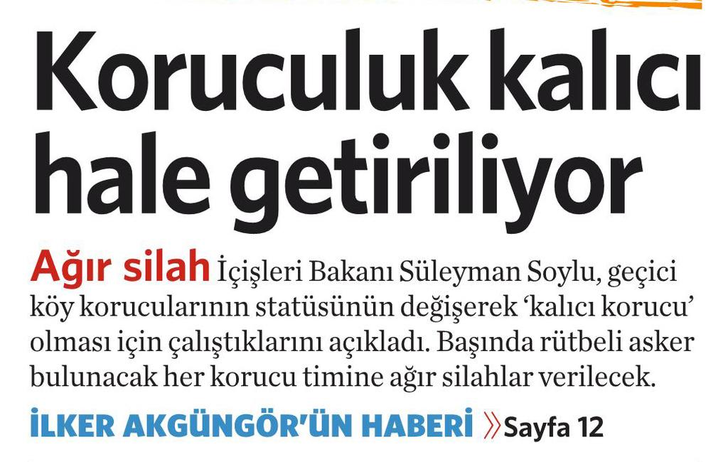 25 Eylül 2016 Vatan Gazetesi 1. sayfa