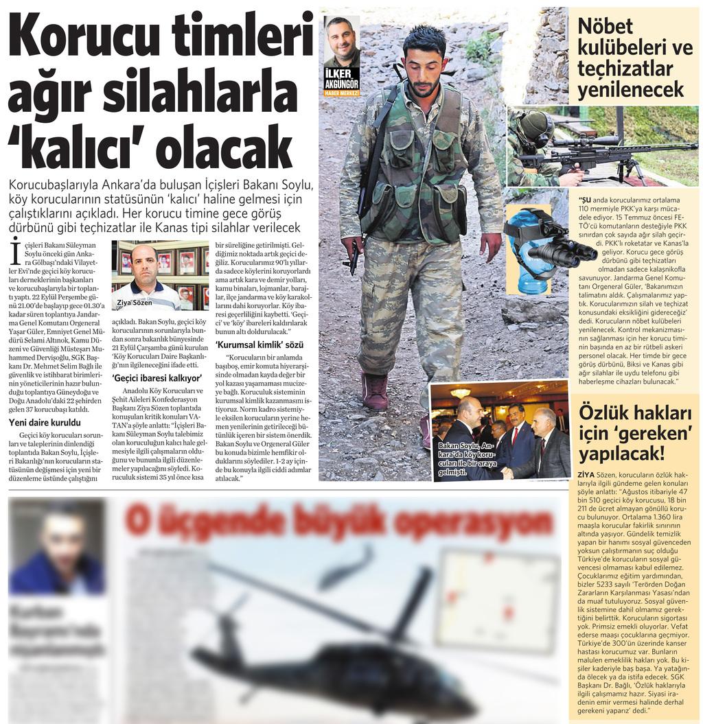 25 Eylül 2016 Vatan Gazetesi 12. sayfa