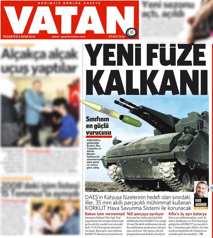 3 Ekim 2016 Vatan Gazetesi 1. sayfa