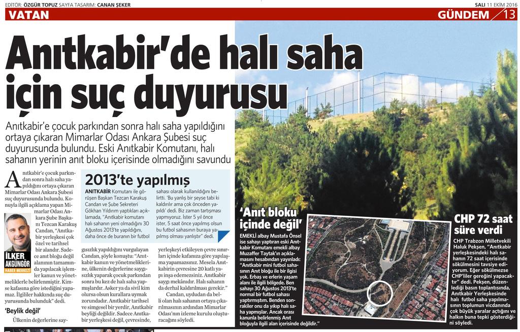 11 Ekim 2016 Vatan Gazetesi 13. sayfa
