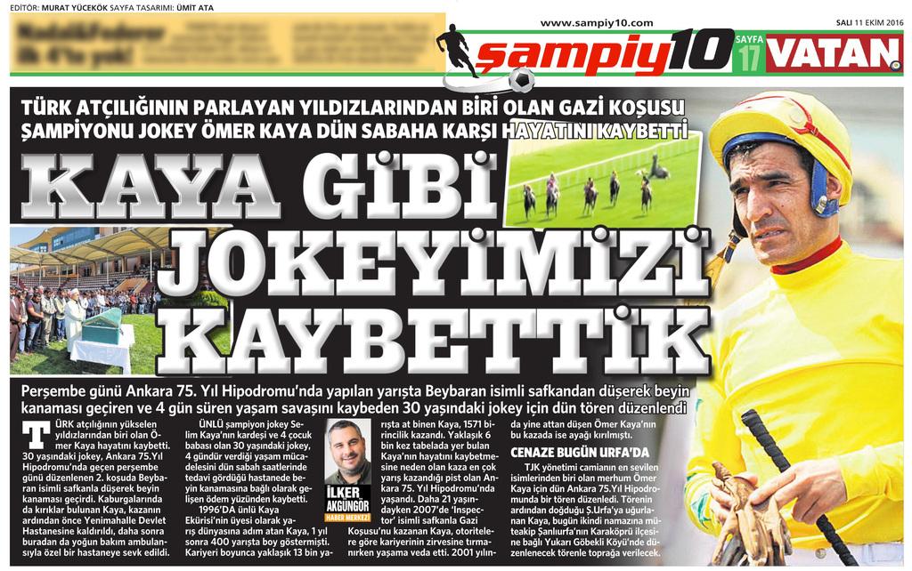 11 Ekim 2016 Vatan Gazetesi 17. sayfa