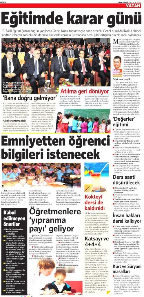 6 Aralık 2014 Vatan Gazetesi 18. sayfa