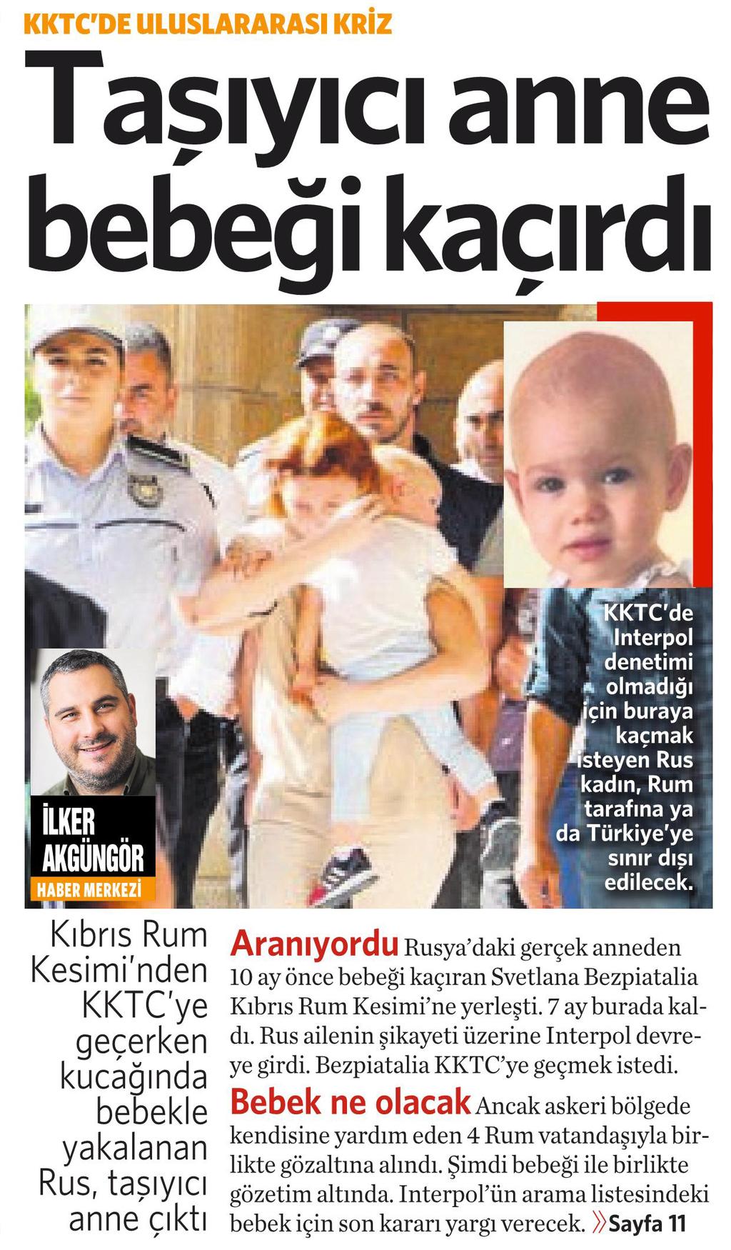 27 Ekim 2016 Vatan Gazetesi 1. sayfa