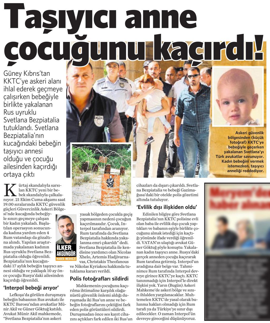 27 Ekim 2016 Vatan Gazetesi 11. sayfa