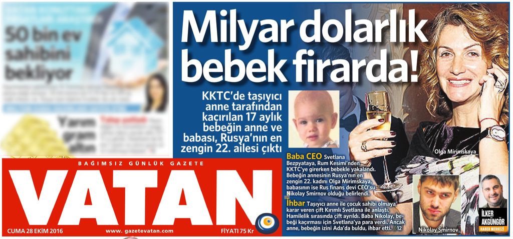 28 Ekim 2016 Vatan Gazetesi 1. sayfa
