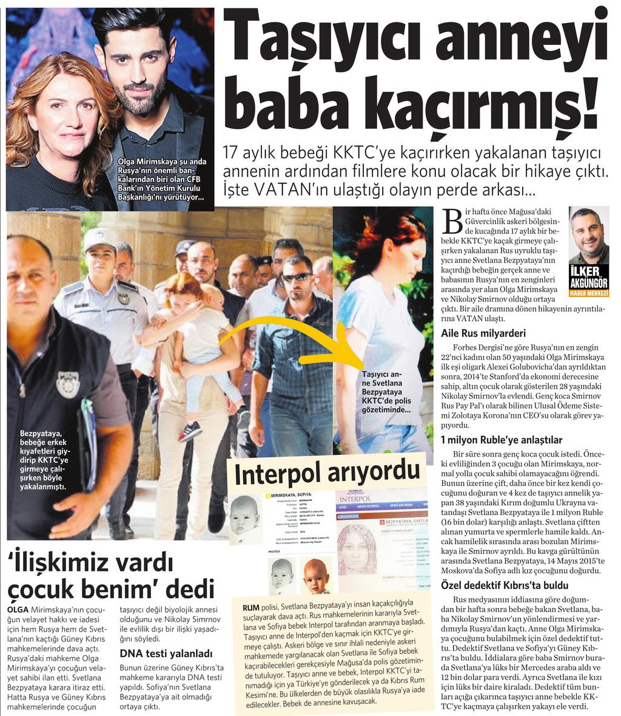28 Ekim 2016 Vatan Gazetesi 12. sayfa