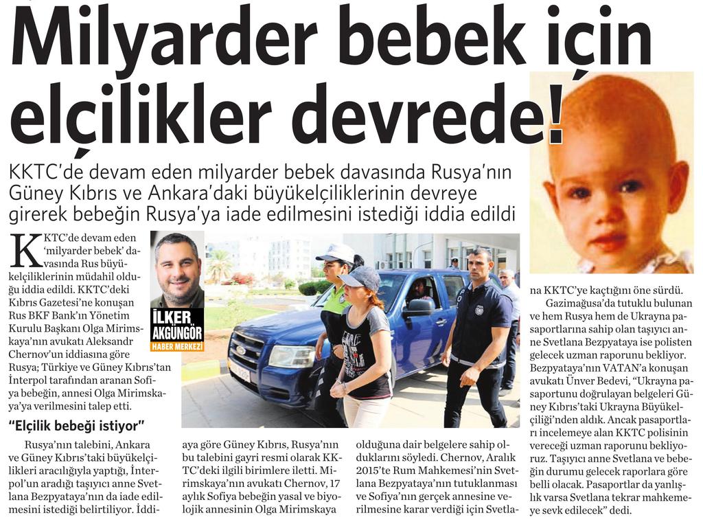 1 Kasım 2016 Vatan Gazetesi 4. sayfa