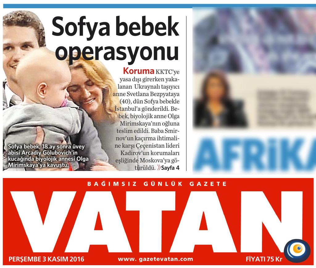 3 Kasım 2016 Vatan Gazetesi 1. sayfa