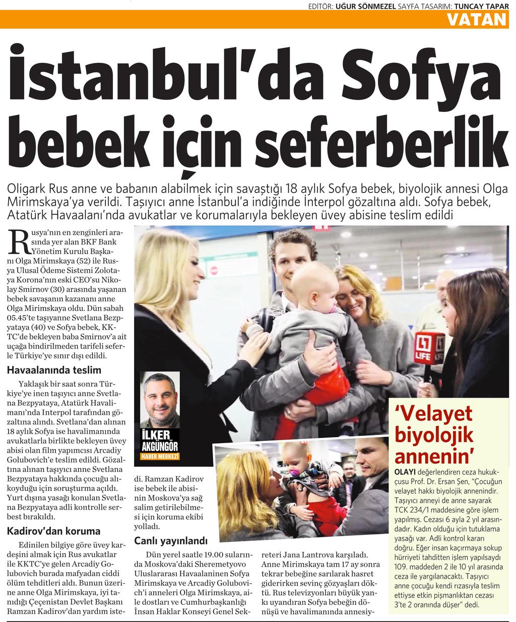 3 Kasım 2016 Vatan Gazetesi 4. sayfa