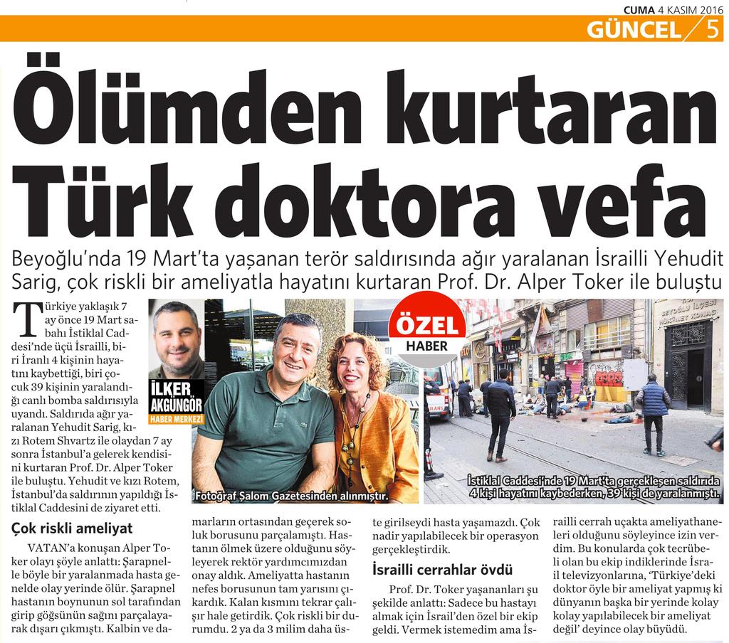 4 Kasım 2016 Vatan Gazetesi 5. sayfa