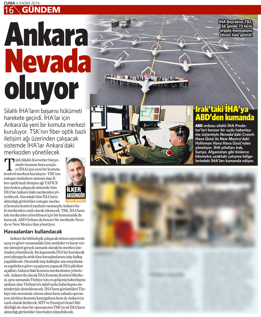 4 Kasım 2016 Vatan Gazetesi 16. sayfa