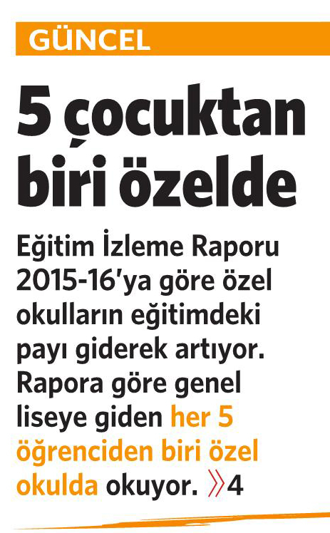 18 Kasım 2016 Vatan Gazetesi 1. sayfa
