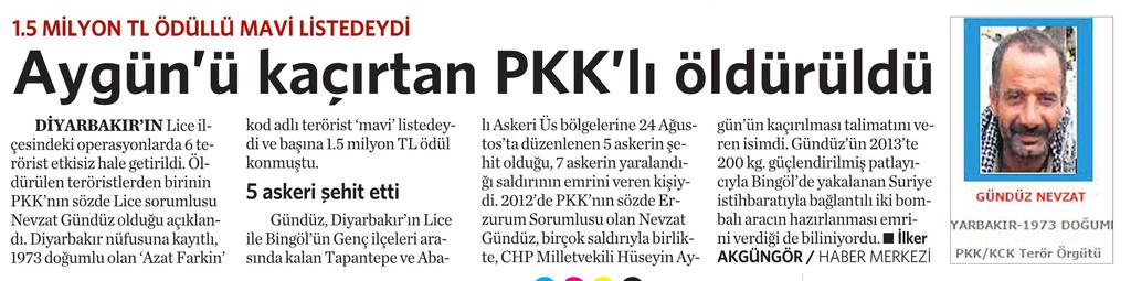 26 Kasım 2016 Vatan Gazetesi 12. sayfa