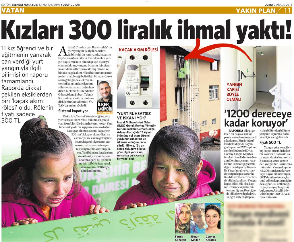 2 Aralık 2016 Vatan Gazetesi 11. sayfa