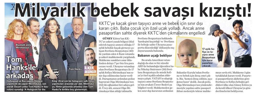 29 Ekim 2016 Vatan Gazetesi 14. sayfa