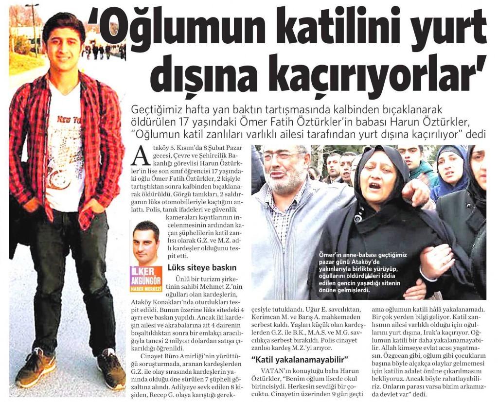 17 Şubat 2015 Vatan Gazetesi 11. sayfa