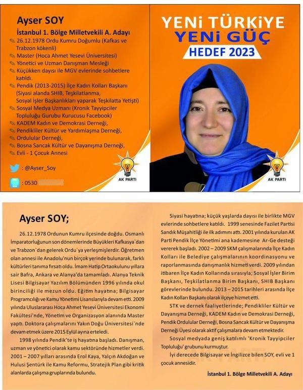 Milletvekili aday adayı Ayser Soy'un sosyal medyada tartışılan tanıtım broşürü.
