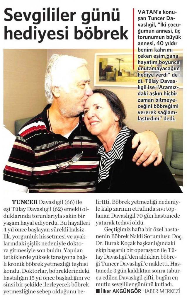 14 Şubat 2015 Vatan Gazetesi 4. sayfa