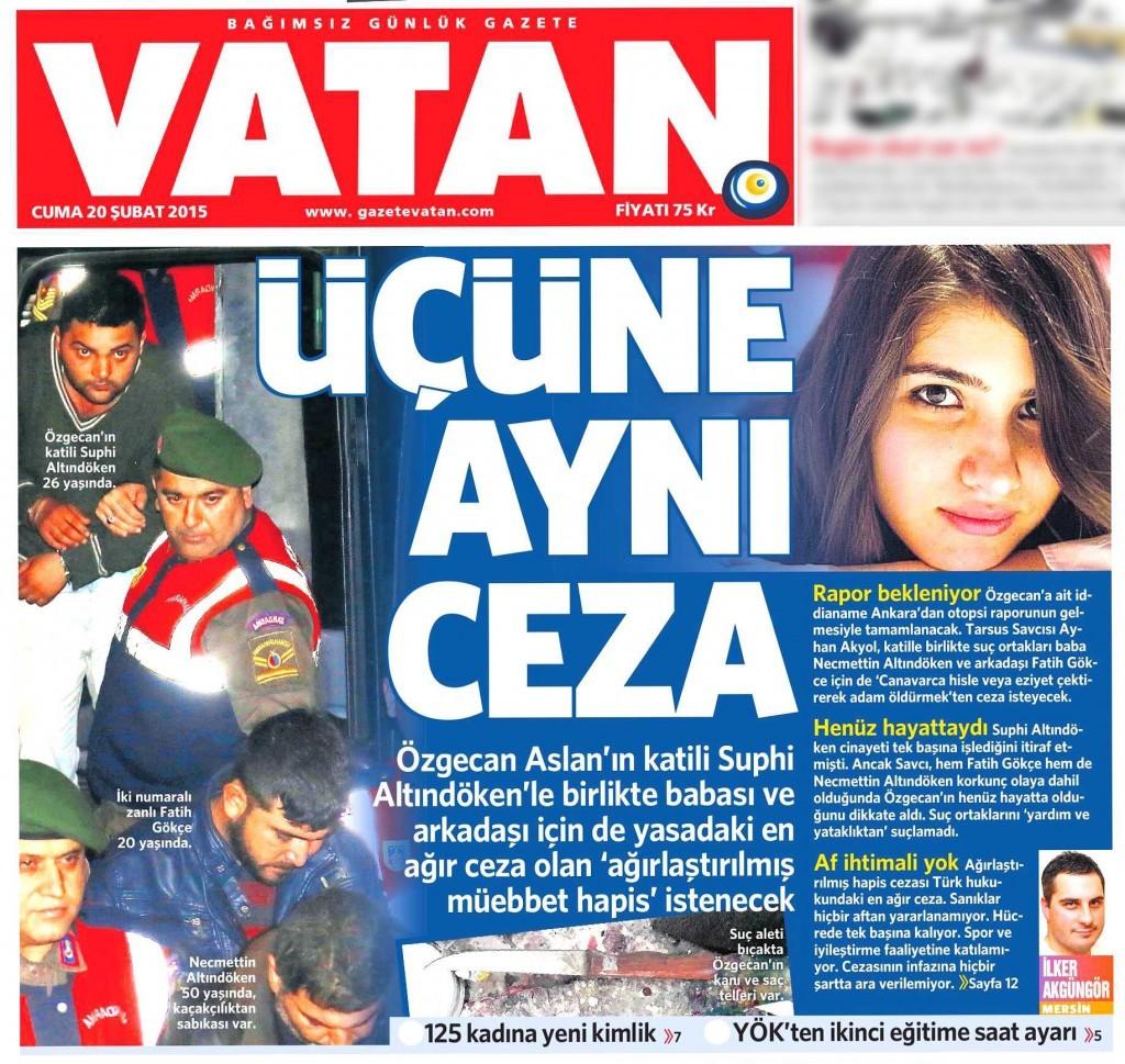 20 Şubat 2015 Vatan Gazetesi 1. sayfa
