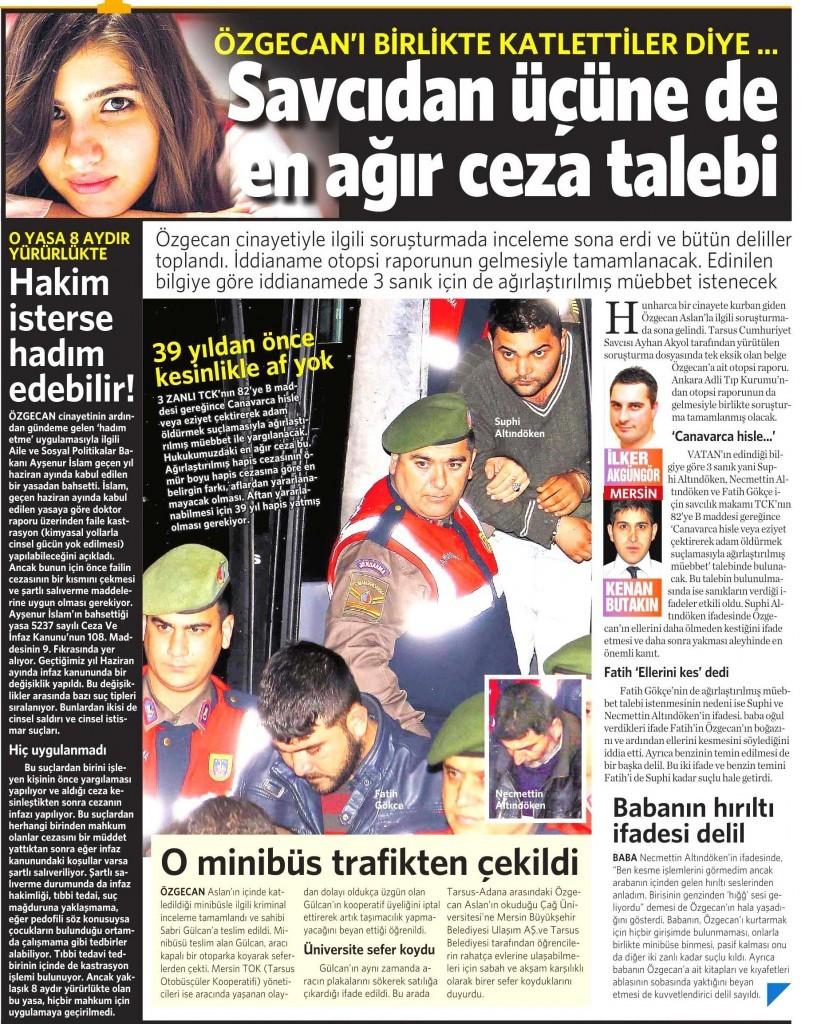 20 Şubat 2015 Vatan Gazetesi 12. sayfa