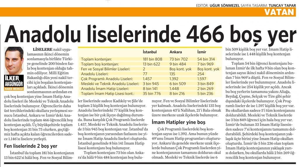 2 Eylül 2015 Vatan Gazetesi 6. sayfa