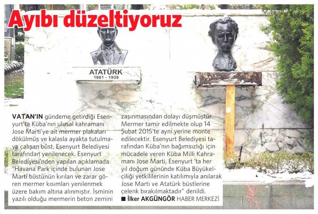 14 Şubat 2015 Vatan Gazetesi 6. sayfa