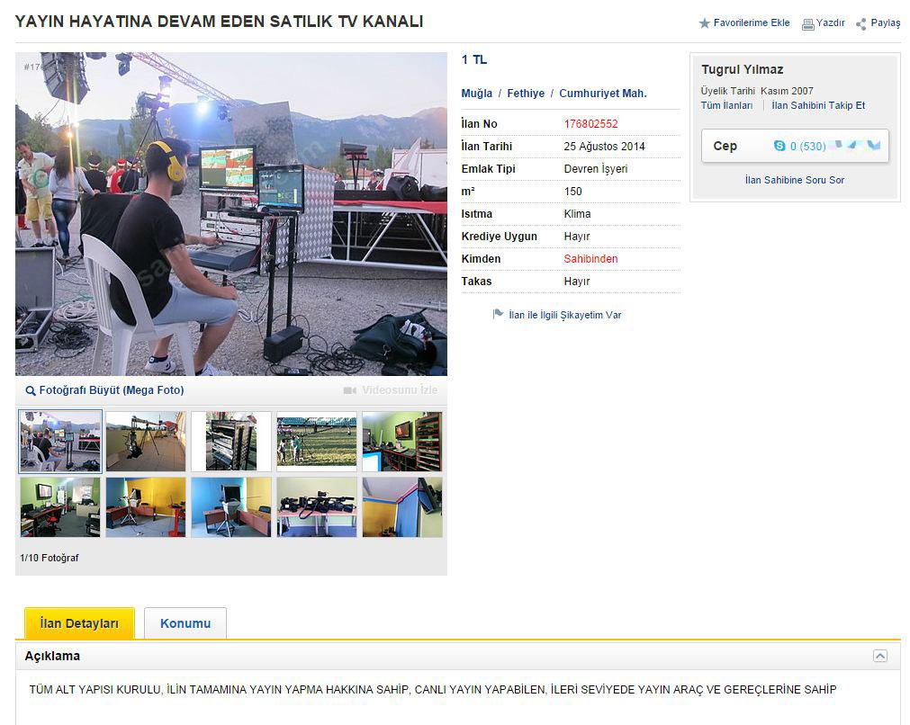 Sahibinden satılık tv kanalı ilanı