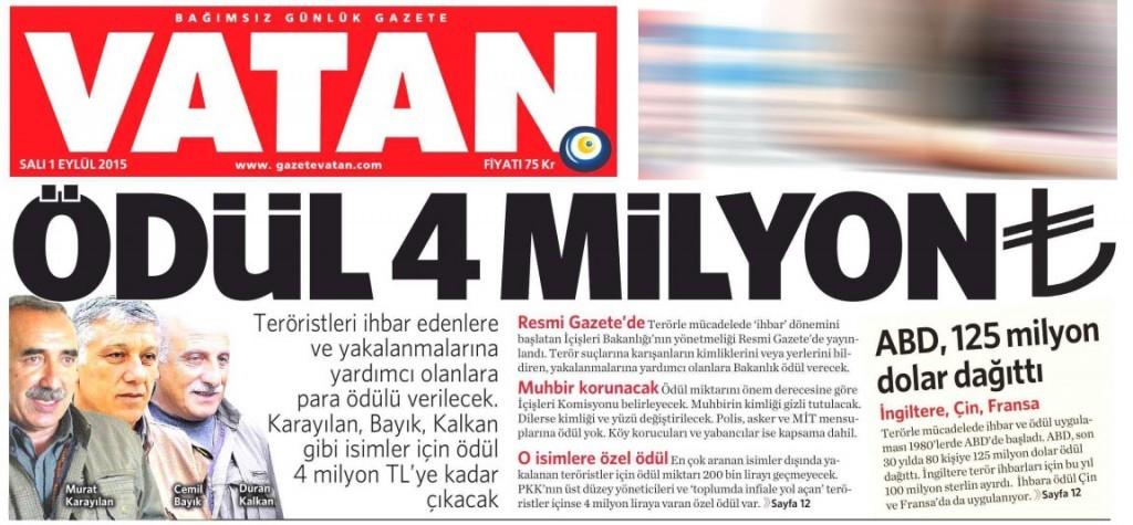 1 Eylül 2015 Vatan Gazetesi 1. sayfa